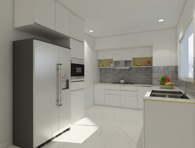 white themed kitchen looks very spacious :  Kitchen by Rhythm  And Emphasis Design Studio ,Modern