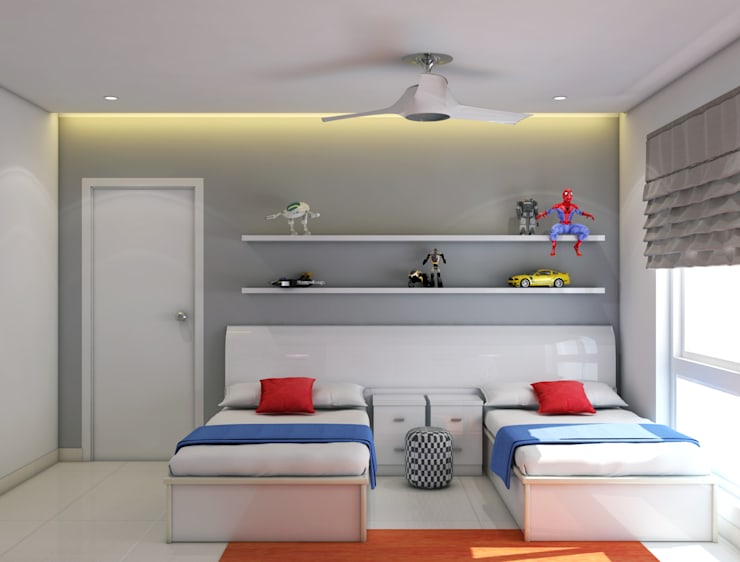 Kids bedroom theme with twin beds :  Bedroom by Rhythm  And Emphasis Design Studio ,Modern