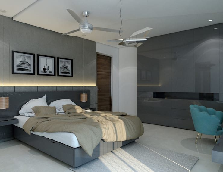 Bedroom with a designer headboard : modern  by Rhythm  And Emphasis Design Studio ,Modern