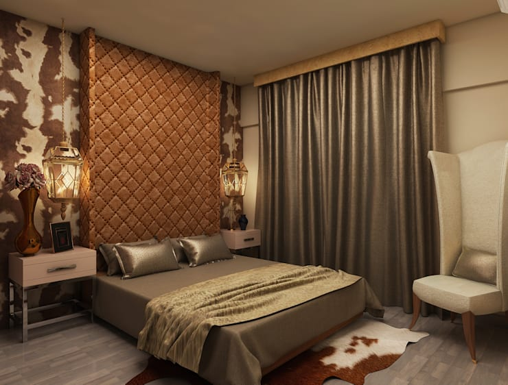 Dark colour bedroom design ideas shows luxury:  Bedroom by Rhythm  And Emphasis Design Studio ,Classic