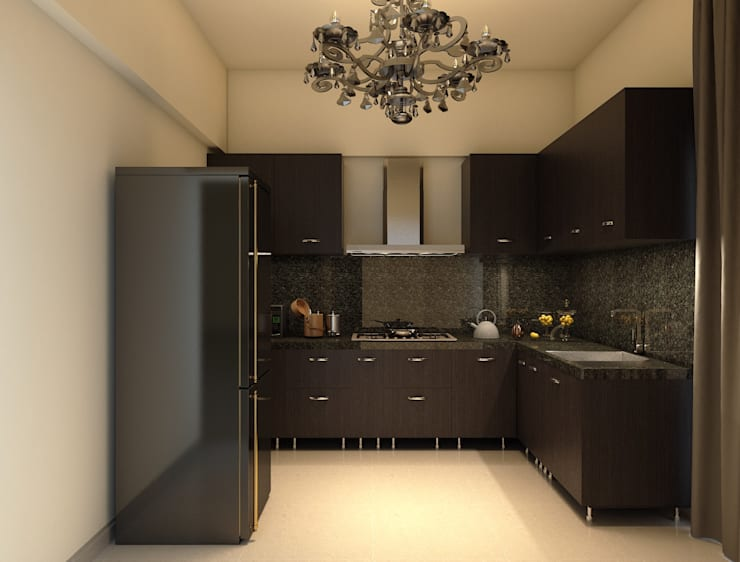 modern kitchen with dark shades of brown laminate :  Built-in kitchens by Rhythm  And Emphasis Design Studio ,Classic