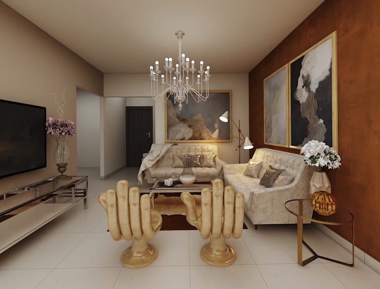 luxurious main living room interior design. :  Living room by Rhythm  And Emphasis Design Studio ,Classic