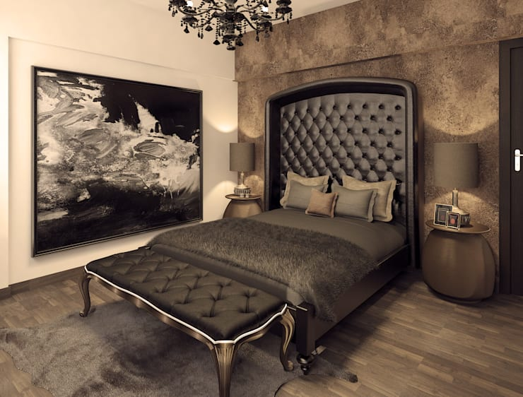 Shades of black and grey in the bedroom interior :  Bedroom by Rhythm  And Emphasis Design Studio ,Classic