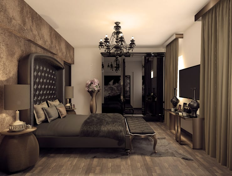 Smart way to detail bedroom with amazing decoration:  Bedroom by Rhythm  And Emphasis Design Studio ,Classic