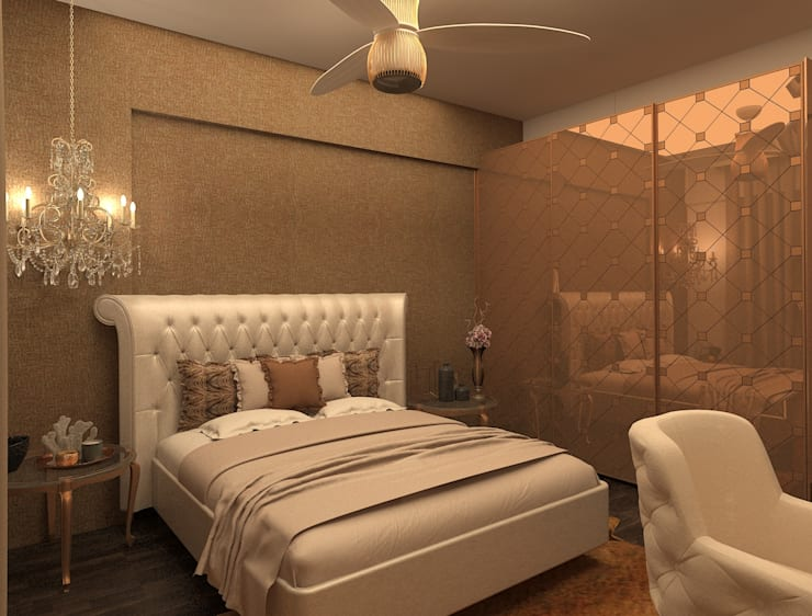 Bedroom design in shades of beige and Brown:  Bedroom by Rhythm  And Emphasis Design Studio ,Classic