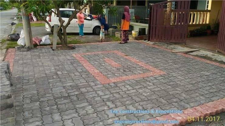 Outdoor Tiling:  Floors by Sam Contractors Ipoh, Modern Bricks