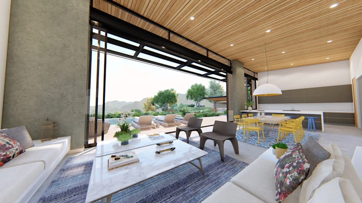 Casa de campo calima / astratto  : Salas de estilo  por astratto