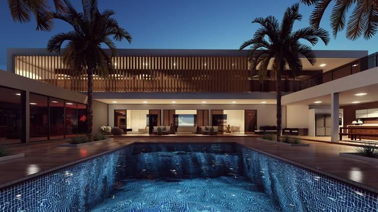 Mini resort familiar : Casas pré-fabricadas  por Vortice Arquitetura