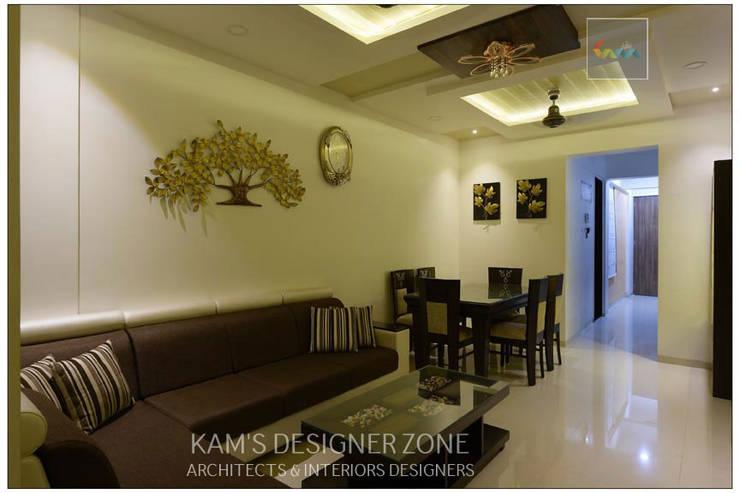Interior Designing For Mr. Prashant Paraswar:  Living room by KAM'S DESIGNER ZONE,Modern