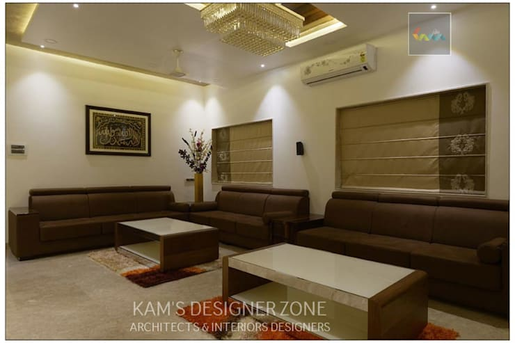 Living Room Interior Design of Mr. Zeeshan Sayyed:  Living room by KAM'S DESIGNER ZONE,Modern