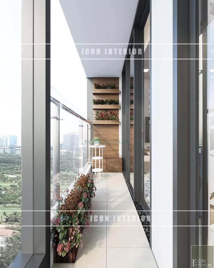 Thiết kế phong cách hiện đại thanh lịch với tông màu trắng:  Hành lang by ICON INTERIOR
