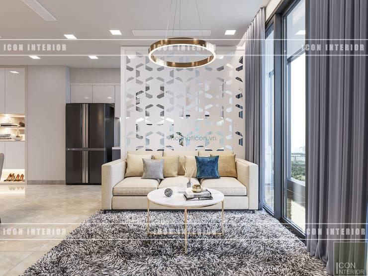 Thiết kế phong cách hiện đại thanh lịch với tông màu trắng:  Phòng khách by ICON INTERIOR