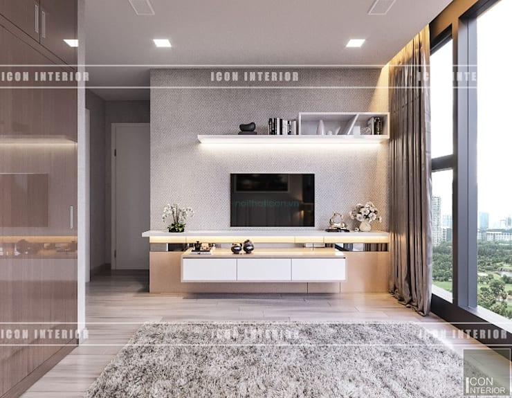Thiết kế phong cách hiện đại thanh lịch với tông màu trắng:  Phòng ngủ by ICON INTERIOR