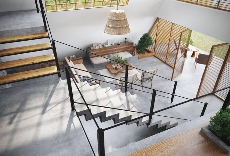 Han House:  Living room by Studio Gritt,Rustic