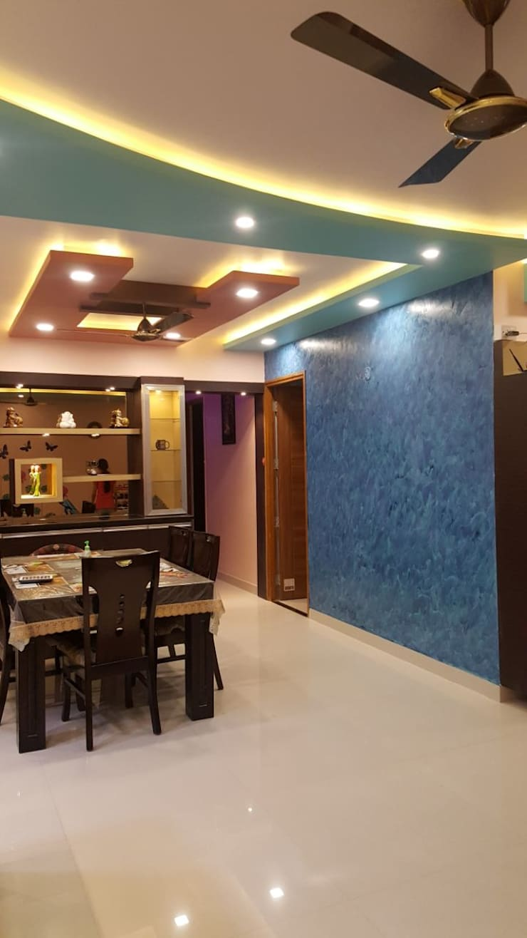 Ajmera Stone Park 1:  Dining room by 12 Square Interiors ,Modern