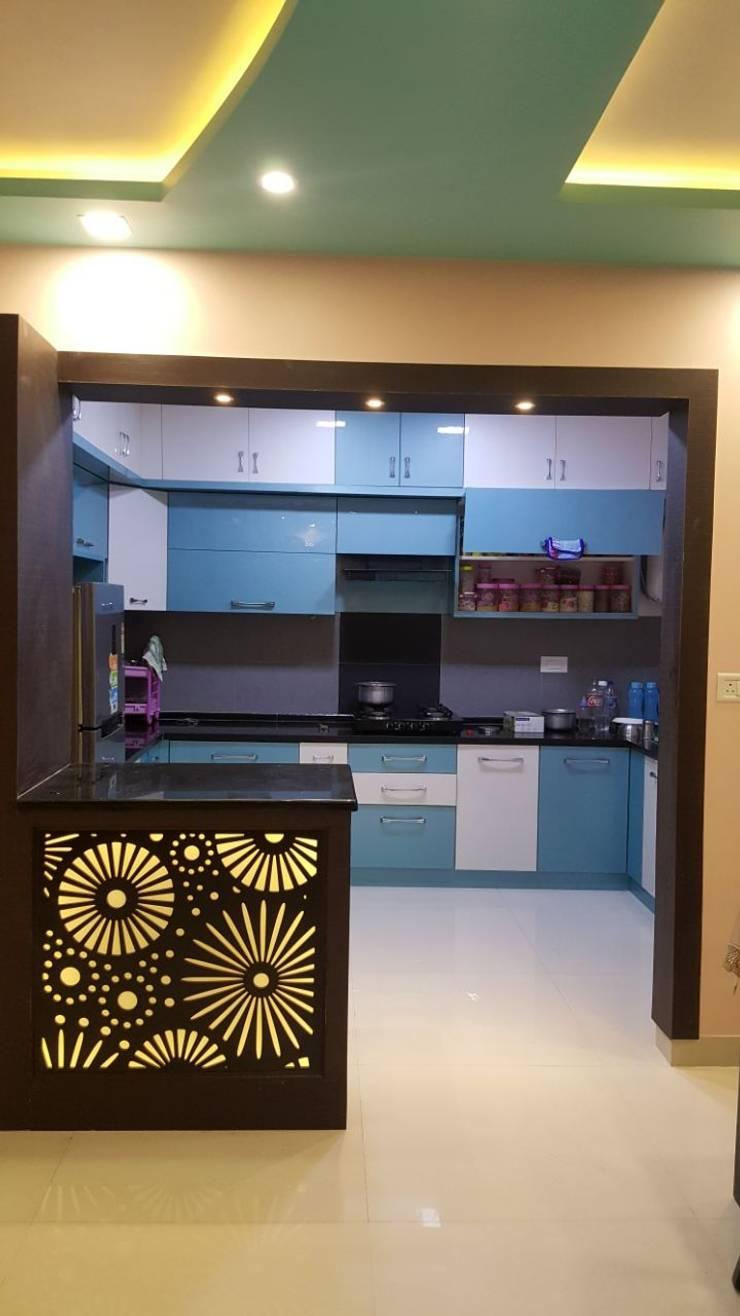 Ajmera Stone Park 1:  Kitchen by 12 Square Interiors ,Modern