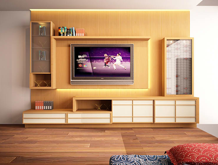 tv panel ruang keluarga :  Ruang Keluarga by Livint design