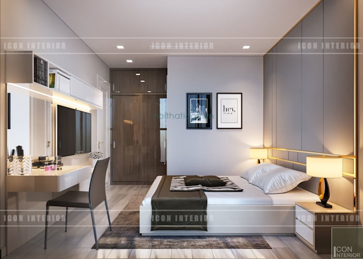 Thiết kế nội thất phong cách hiện đại thanh lịch và thân thiện:  Phòng ngủ by ICON INTERIOR