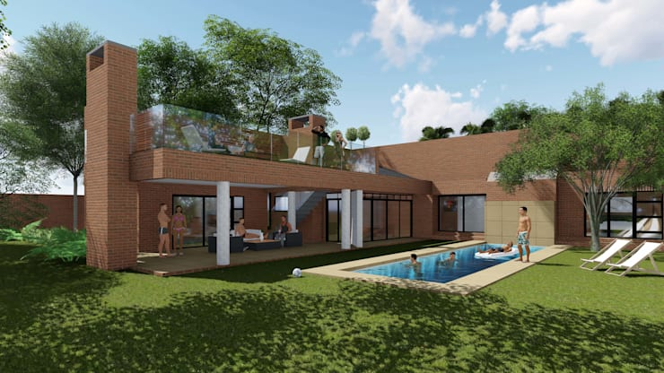 Residence Benvenuti - Entertainment Patio Alteration and Extension:  Patios by Pieter Pieters Architect, Modern Bricks