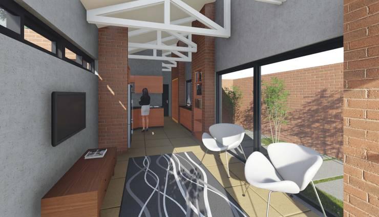 Residence Benvenuti - Outbuilding Conversion into Cottage:  Living room by Pieter Pieters Architect, Modern Bricks