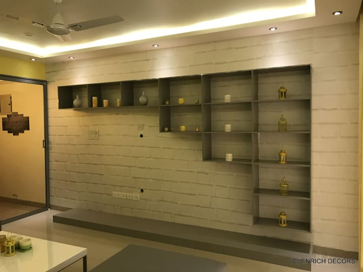 Living Room - TV Unit wall :  Living room by Enrich Interiors & Decors