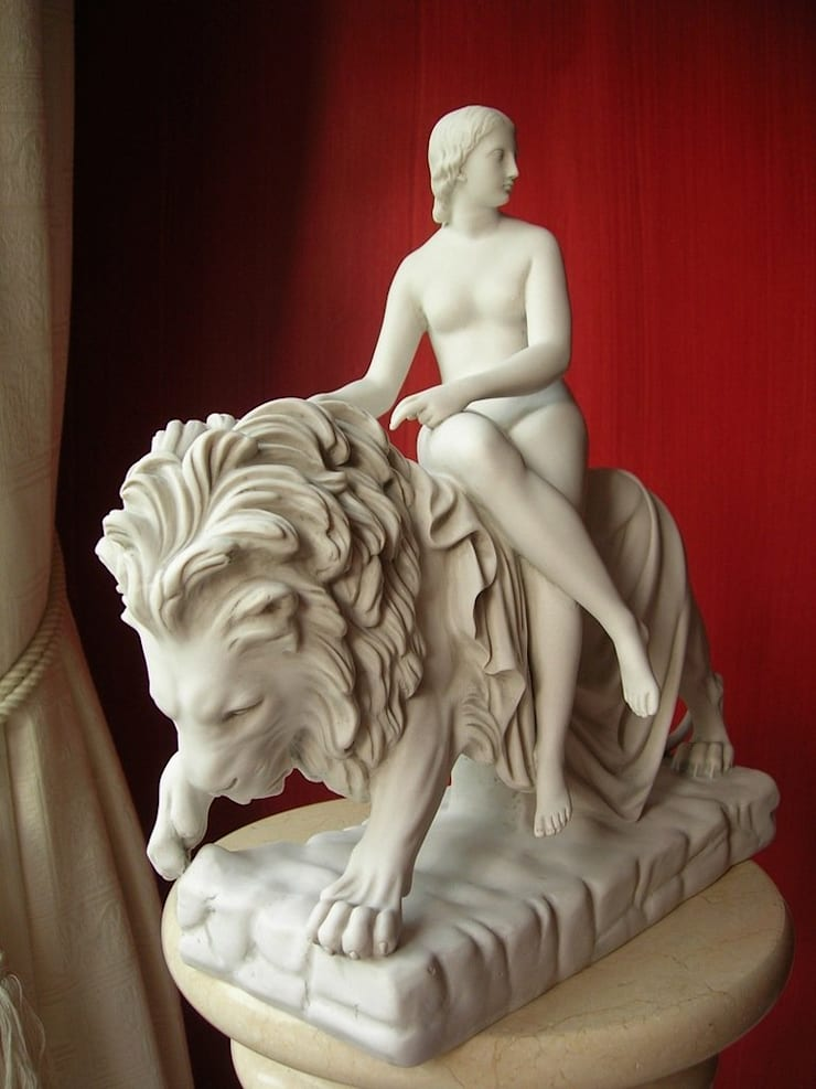 Lady and the Lion - Marble Sculpture:  Artwork by The Ancient Home