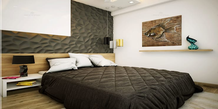 Home Designs in Kerala:  Bedroom by Monnaie Interiors Pvt Ltd,Asian