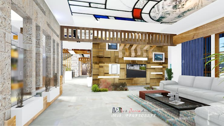 Living Room Inerior:  Living room by Ellis & Jorim Architects,Classic Wood Wood effect