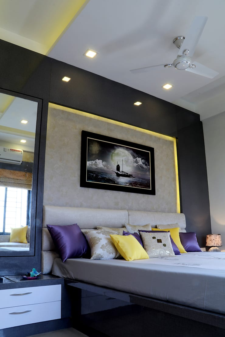 2 BHK Apartment of Mr Alex Parera Kolkata:  Bedroom by Cee Bee Design Studio,Modern