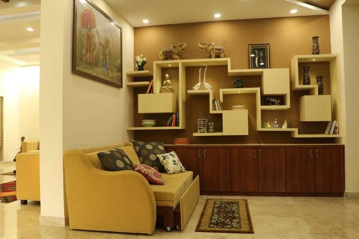 Villa Renovation of Mr Tanmay Banerjee Kolkata: modern Living room by Cee Bee Design Studio