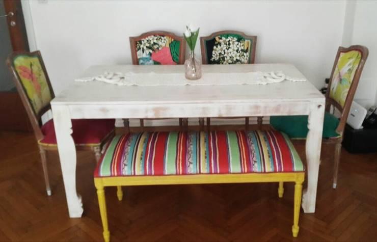 Mesa con sillas restauradas: Comedores de estilo  por Valeria Pires Interiorismo