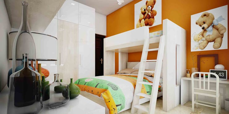Kid's Room and Wardrobe Designs in Kerala: asian Bedroom by Monnaie Interiors Pvt Ltd