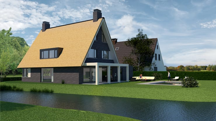 Landelijk moderne woning Rotterdam Hillegersberg:  Villa door Brand BBA I BBA Architecten, Landelijk