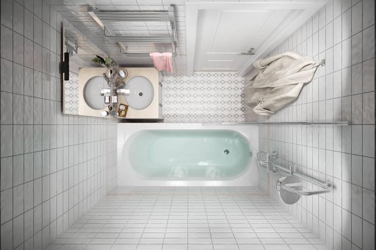 Квартира 51 кв. м. в стиле эклектика в Спб.: Ванные комнаты в . Автор – Студия архитектуры и дизайна Дарьи Ельниковой