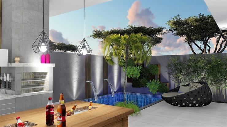 Terraço: Piscinas modernas por Trivisio Consultoria e Projetos em 3D