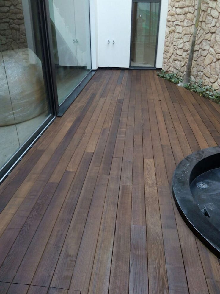 Thermoash Wood Decking:  Garden Pond by Opulo India,Country Wood Wood effect
