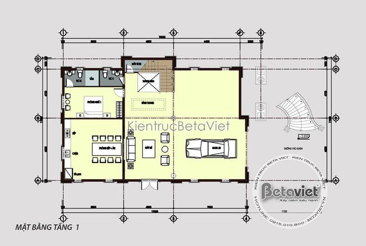 Mặt bằng tầng 1 mẫu dinh thự đẹp 3 tầng Cổ điển hoành tráng (CĐT: Ông Hùng - Quảng Ninh) KT18018:   by Công Ty CP Kiến Trúc và Xây Dựng Betaviet