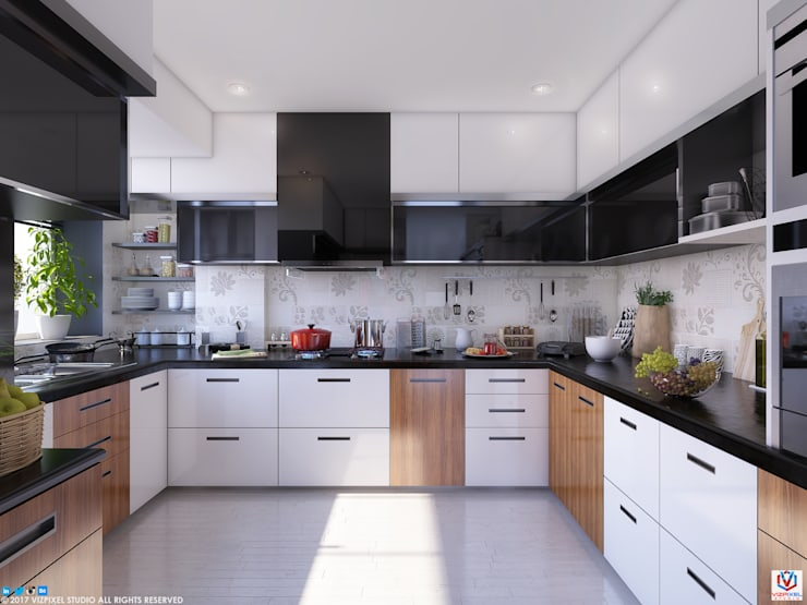 KITCHEN:  Built-in kitchens by VIZPIXEL STUDIO,Modern Wood Wood effect