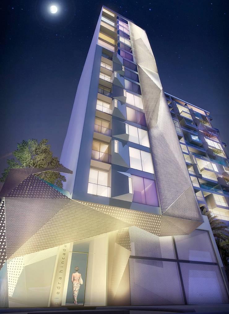 Edificio Piedra  Hincada-Fachada acceso peatonal:  de estilo  por RIVAL Arquitectos  S.A.S.