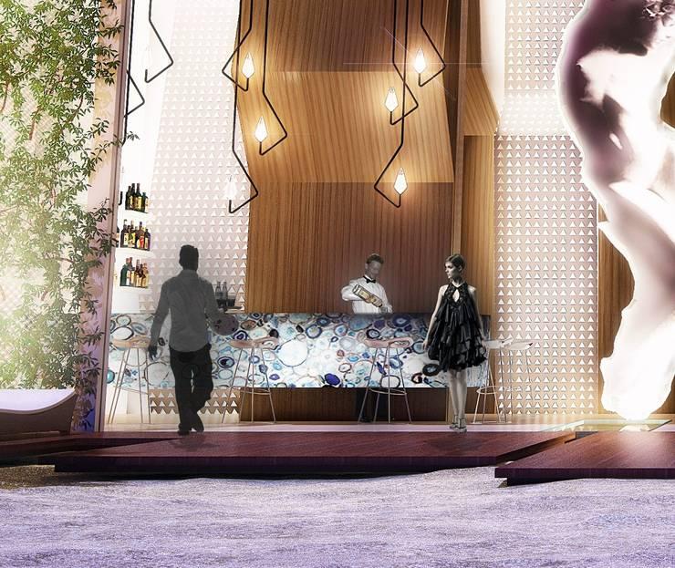 Edificio Piedra  Hincada-Bar deplaya:  de estilo  por RIVAL Arquitectos  S.A.S.
