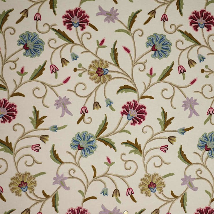 Vintage Floral Traditional Hand Embroidered Cotton Crewel Fabric by the Yard: asian  by Kashmir Valley Arts,Asian Cotton Red