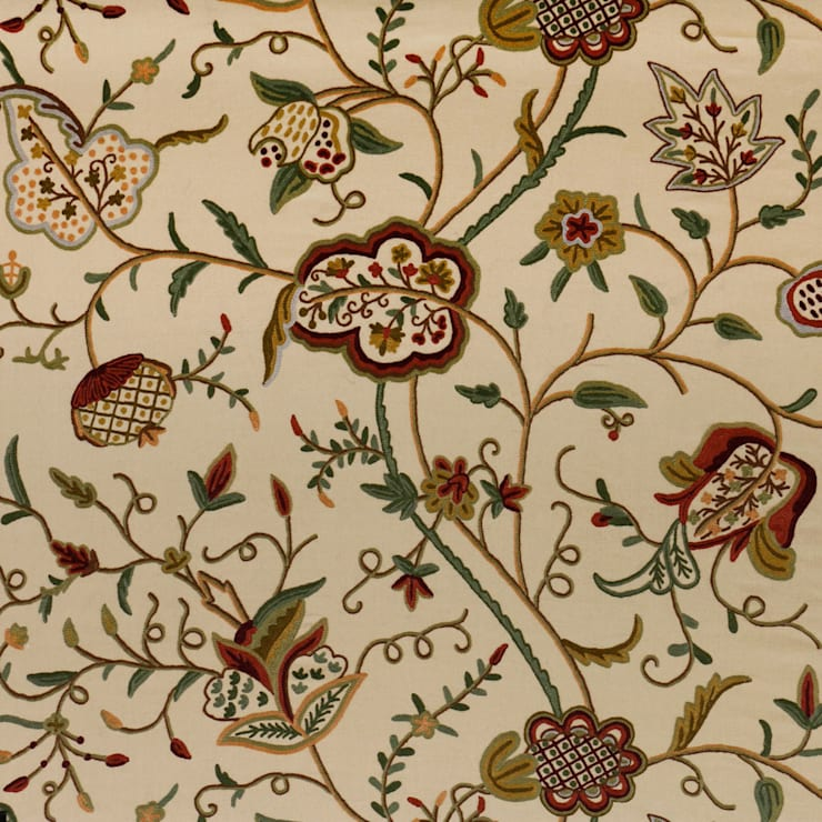 Vintage Hand Traditional Embroidered Cotton Crewel Fabric by the Yard: asian  by Kashmir Valley Arts,Asian Cotton Red