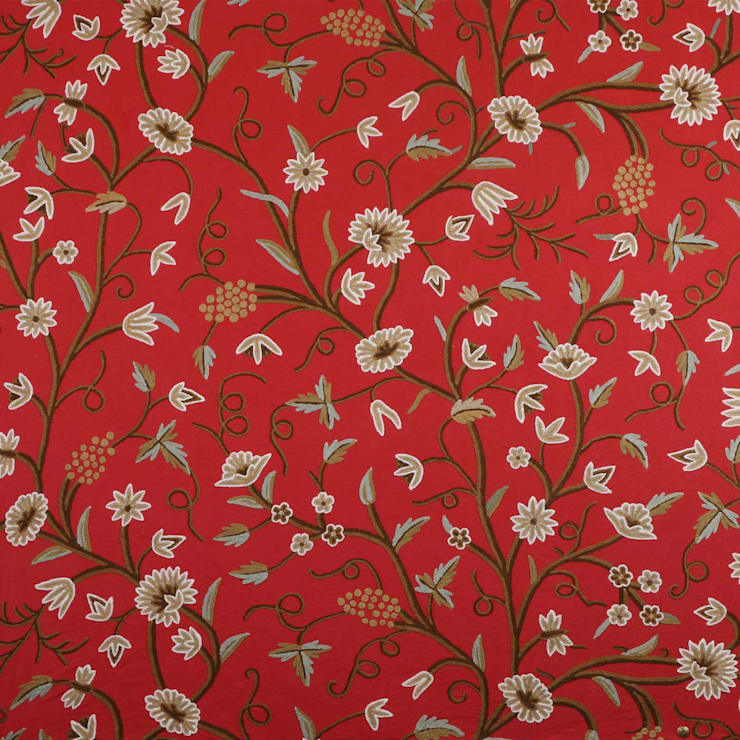 Vintage Hand Traditional Embroidered Cotton Crewel Fabric by the Yard: asian  by Kashmir Valley Arts,Asian