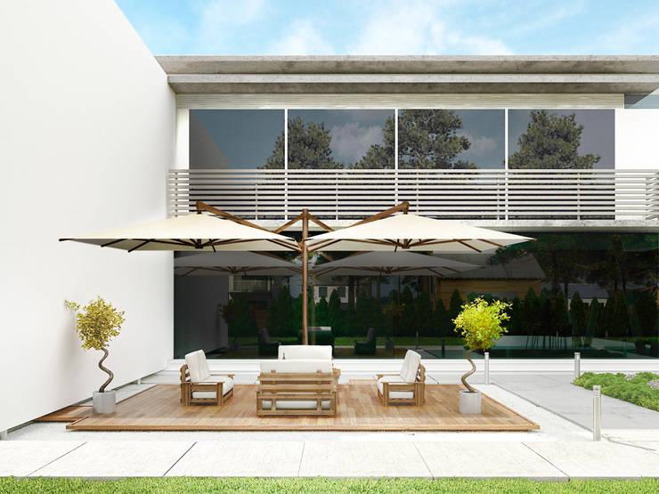 Balcones, porches y terrazas de estilo  por Atria Designs Inc.,