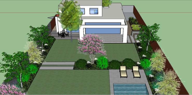 Proyecto 3D Patio posterior: Jardines de estilo  por Aliwen Paisajismo