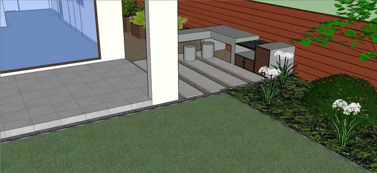 Detalle quincho diseñado en 3D: Jardines de estilo  por Aliwen Paisajismo