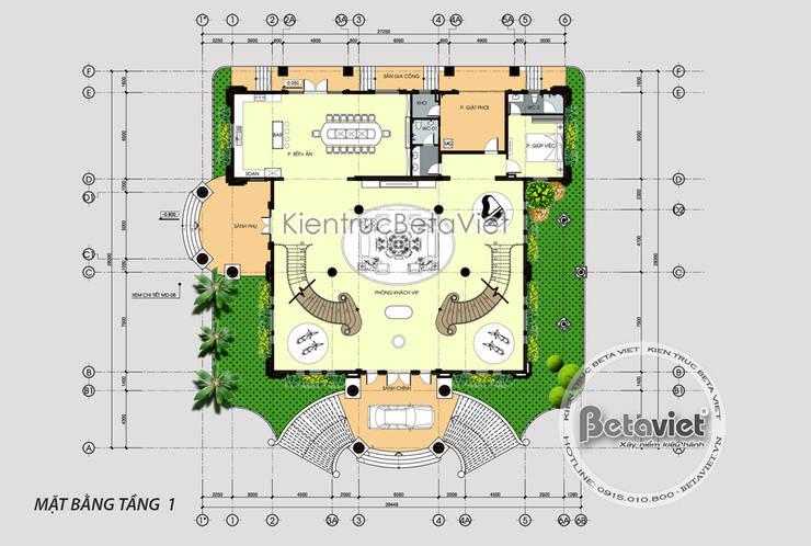 Mặt bằng tầng 1 mẫu dinh thự kiểu Pháp đẹp lung linh hoành tráng (CĐT: Bà Thúy - Bình Dương) KT18020:   by Công Ty CP Kiến Trúc và Xây Dựng Betaviet
