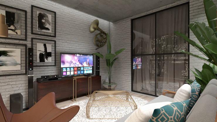 Varanda Gourmet: Salas multimídia industriais por Agenor Gomes Arquitetura + Design