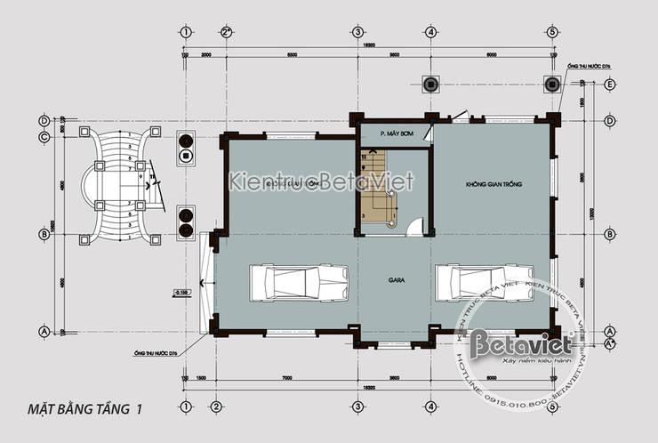 Mặt bằng tầng 1 mẫu lâu đài dinh thự đẹp 3 tầng kiểu Pháp nguy nga tráng lệ (CĐT: Ông Tuấn - Lạng Sơn) KT18003:   by Công Ty CP Kiến Trúc và Xây Dựng Betaviet