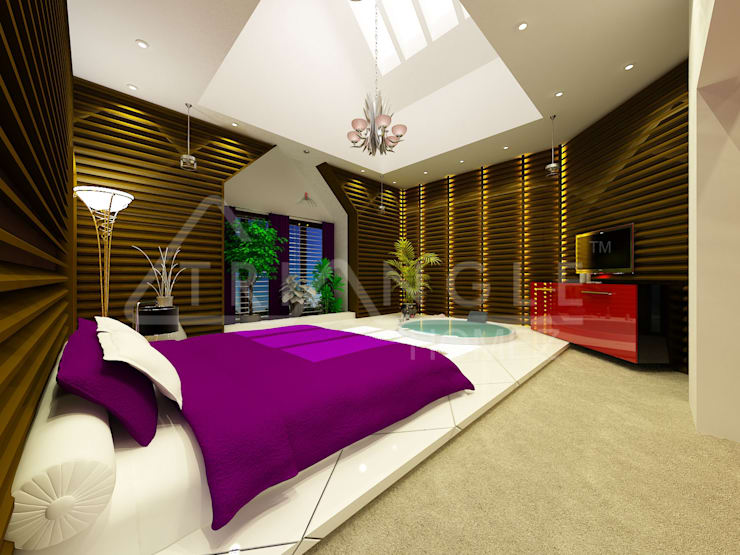 Luxury Interiors: asian Bedroom by TRIANGLE HOMEZ